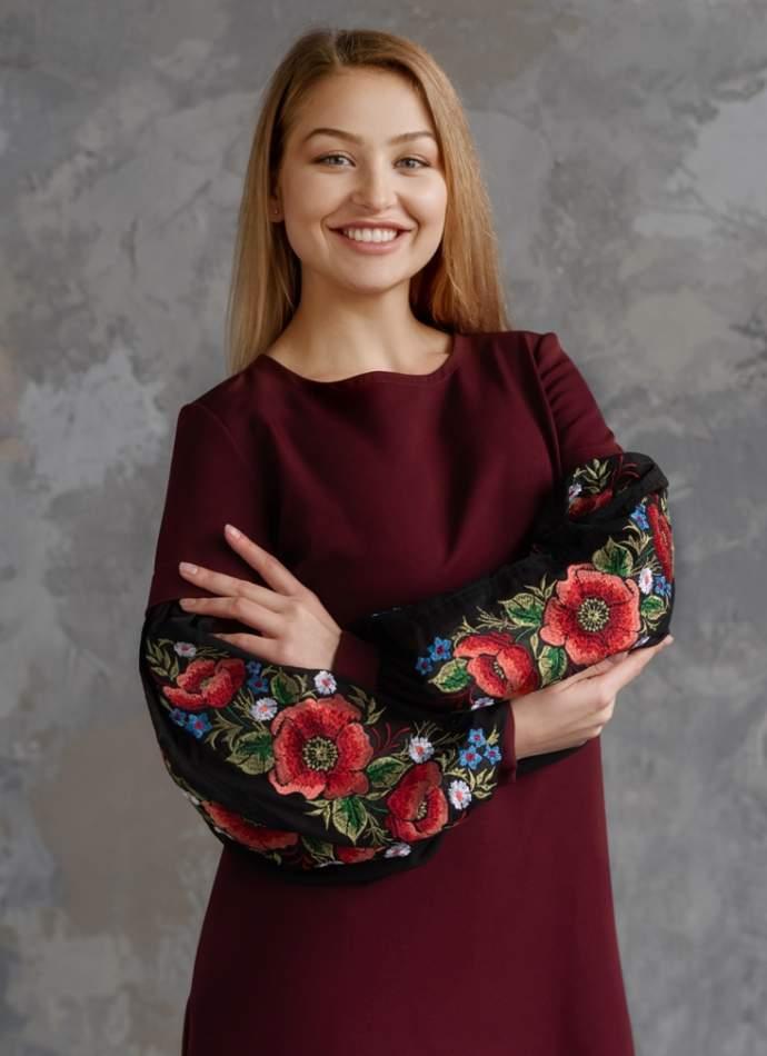 Молодіжне плаття з вишивкою бордове, арт. 4528