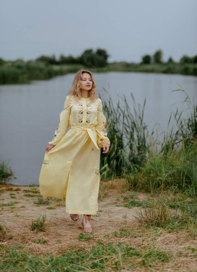 Сукня вишиванка в підлогу (жовте), арт. 4548