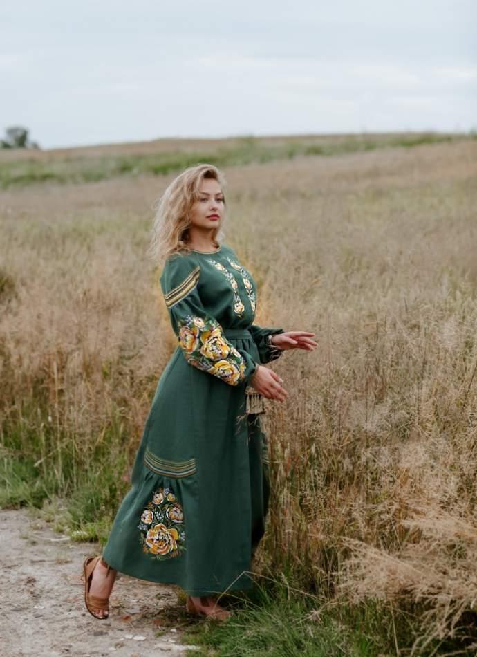Плаття вишиванка в підлогу (зелене), арт. 4532