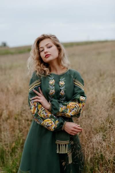 Платье вышиванка в пол (зеленое), арт. 4532