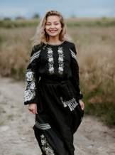 Довга сукня вишиванка в підлогу (чорне), арт. 4529