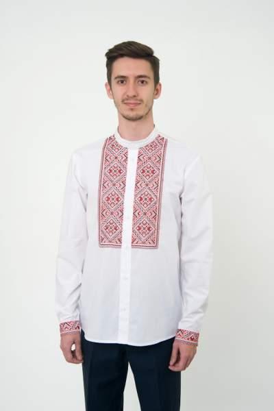 Белая вышитая рубашка мужская, арт. 4230