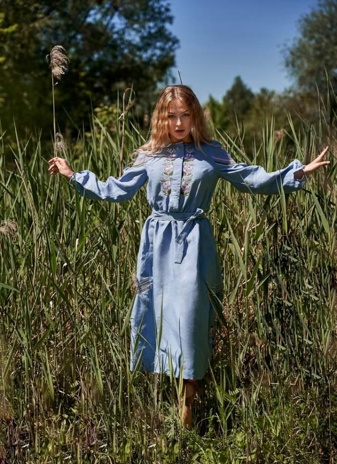 Платье вышиванка (голубое) арт. 4547миди