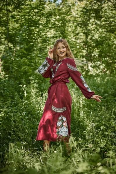Платье вышиванка за колено (бордовое), арт. 4530-миди