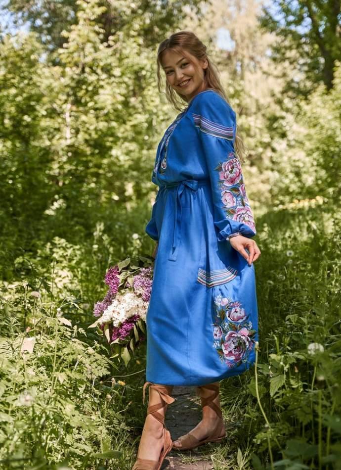 Платье вышиванка (синее), арт. 4533миди