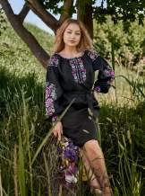 Черное льняное платье с вышивкой, арт. 4506 миди