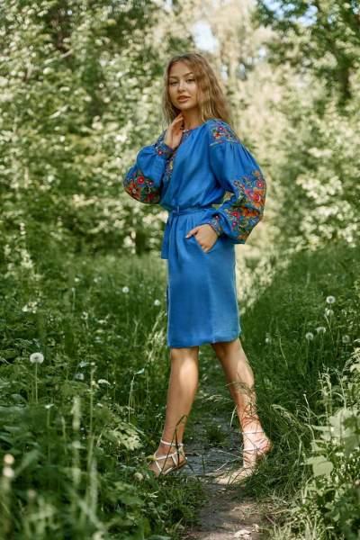Сукня вишиванка (синя), арт. 4519 коротка