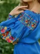 Платье вышиванка (синее), арт. 4519короткое