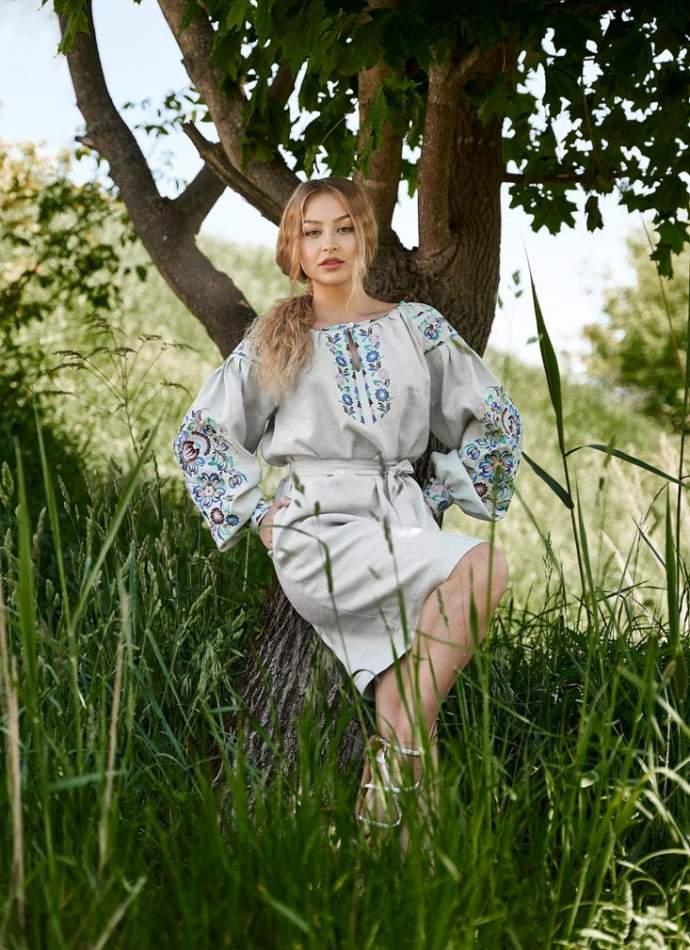 Сукня вишиванка (сіра), арт. 4550 коротка