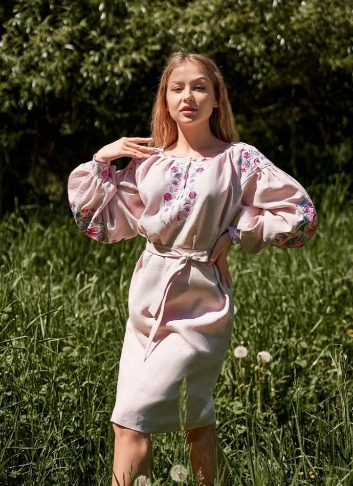 Лляне плаття з вишивкою (рожеве), арт. 4549 коротке