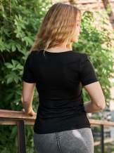 Чорна футболка з вишивкою, арт. 5129к.р.