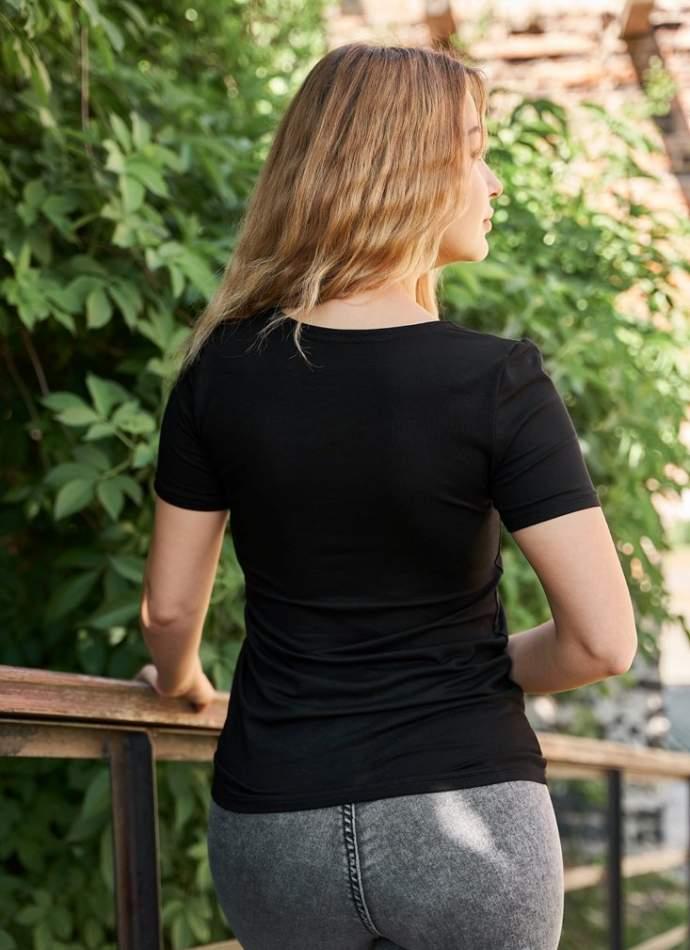 Черная футболка с вышивкой, арт. 5134к.р.