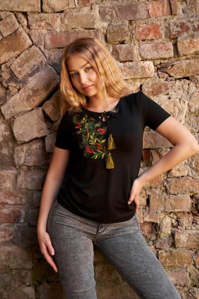 Чорна футболка з вишивкою, арт. 5134к.р.