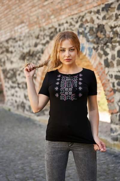 Черная футболка с вышивкой, арт. 5131к.р.