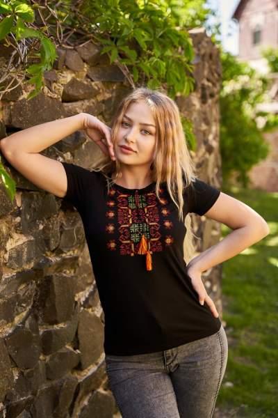 Черная футболка с вышивкой, арт. 5132к.р.