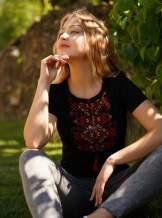 Черная футболка с вышивкой, арт. 5130к.р.