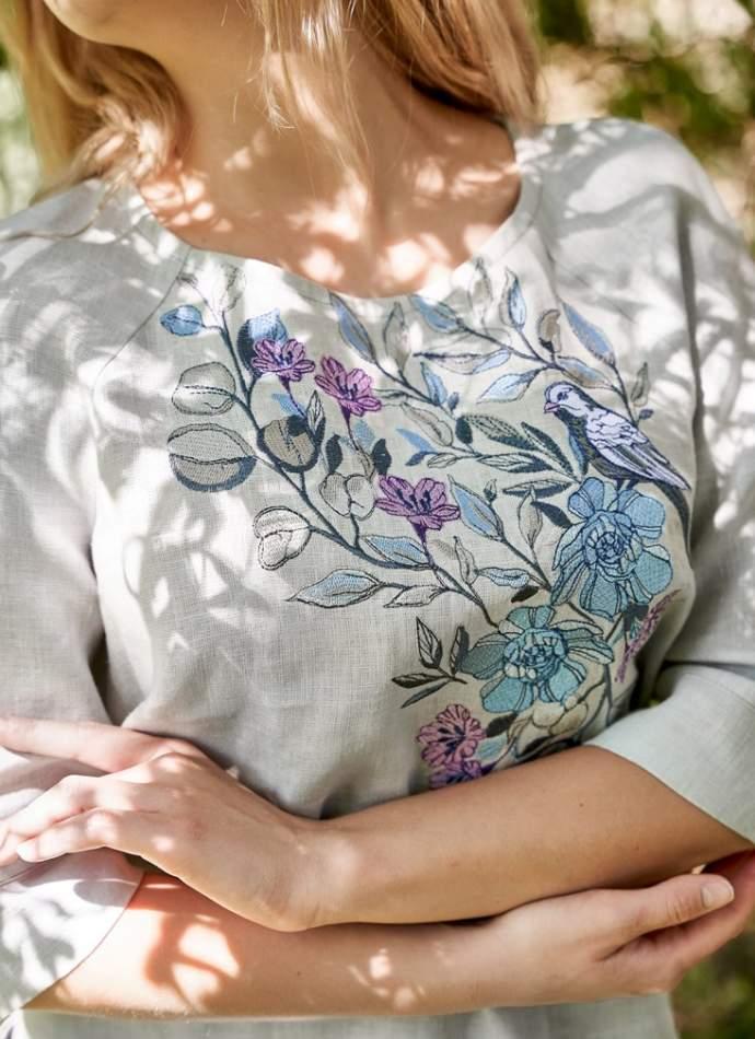 """Сіра жіноча вишиванка """"Зозуля"""", арт. 4564"""