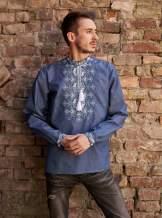 Мужская рубашка вышитая синяя (джинс), арт. 4248джинс