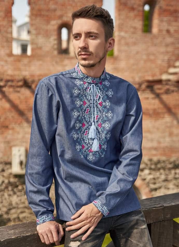 Мужская рубашка вышитая синяя (джинс), арт. 4249джинс
