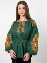 """Зеленая вышиванка льняная """"петриковка"""", арт. 4513"""