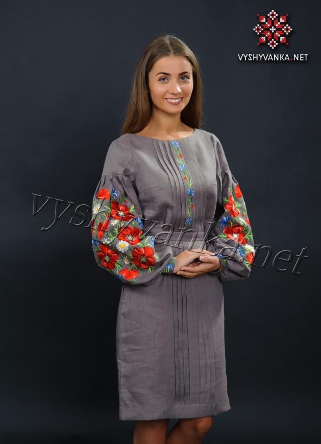 купити лляне вишите плаття з маками Київ 5476d00770b2c