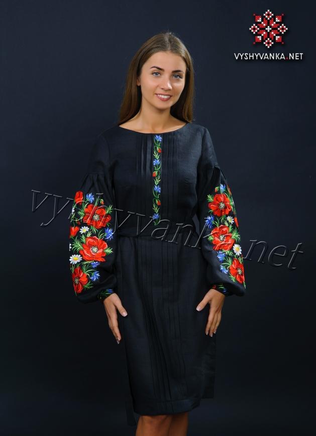 03aed670b098f9 купити чорне плаття вишиванку з маками Київ