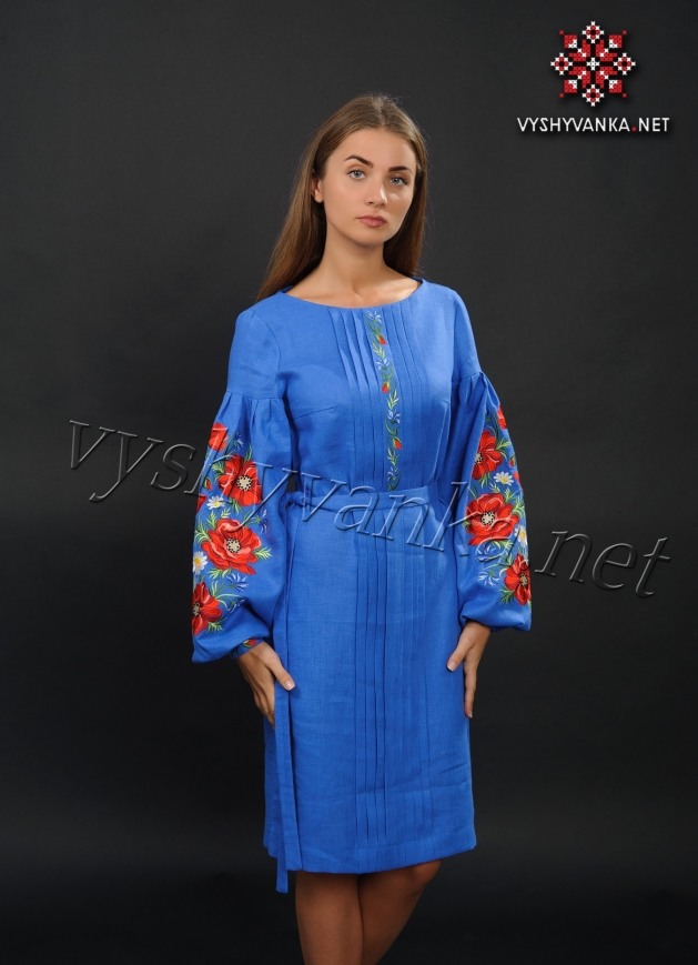 69b8a7ca8c5e64 Синє плаття з маками (дизайнерська вишиванка), арт. 4153