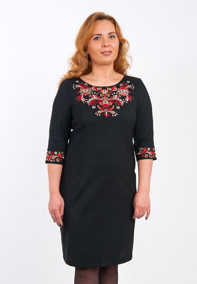 Вишитое платье черное батал купить. Вишита сукня чорне батал. плаття з  вишивкою великих розмірів купити 12969029f3394