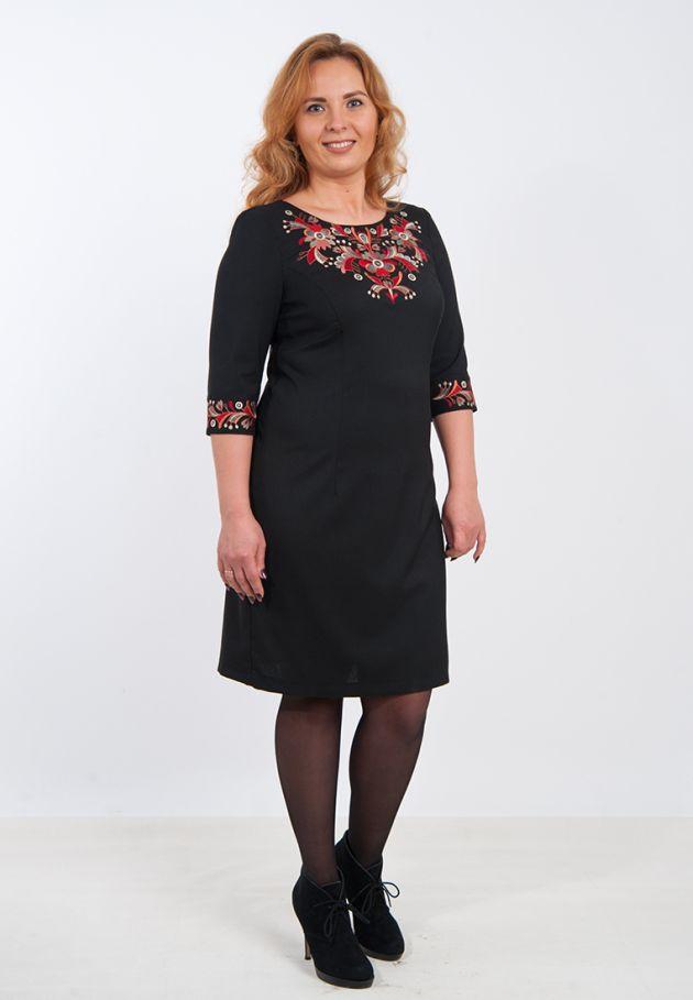 Вишита сукня чорне батал. плаття з вишивкою великих розмірів купити 7ea962aa05610