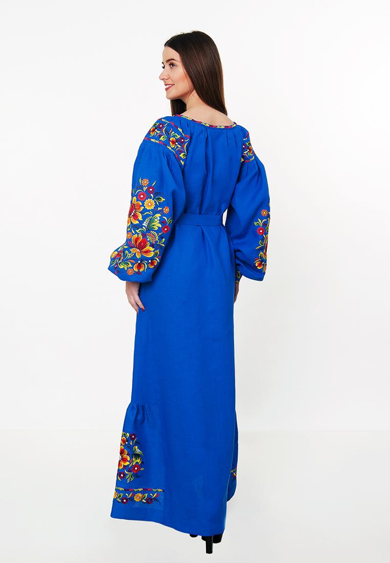 2b031b20bd0e50 Плаття вишиванка в підлогу (синє), арт. 4519
